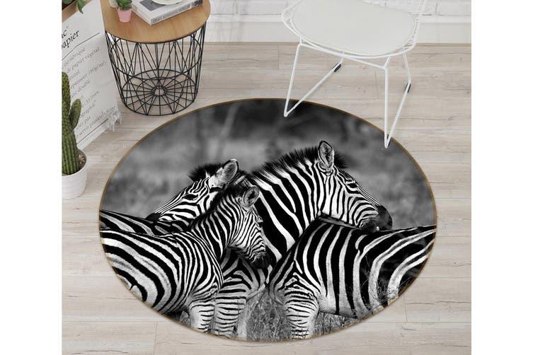 3D Zebra 112 Animal Round Non Slip Rug Mat, 100cm(39.4'')
