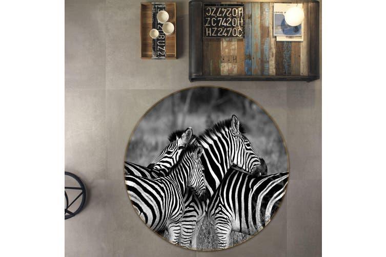 3D Zebra 112 Animal Round Non Slip Rug Mat, 120cm(47.2'')