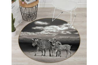 3D Zebra Group 114 Animal Round Non Slip Rug Mat, 100cm(39.4'')