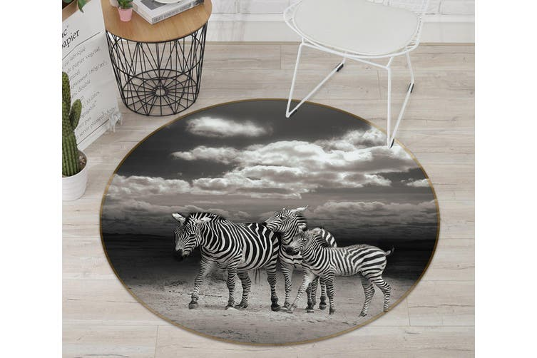 3D Zebra Group 114 Animal Round Non Slip Rug Mat, 120cm(47.2'')