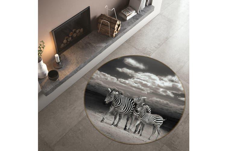 3D Zebra Group 114 Animal Round Non Slip Rug Mat, 200cm(78.7'')