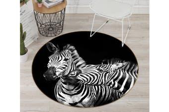 3D Zebra Couple 763 Animal Round Non Slip Rug Mat, 100cm(39.4'')
