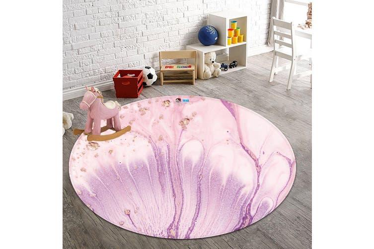 3D Pink Flower 2873 Round Non Slip Rug Mat, 200cm(78.7'')