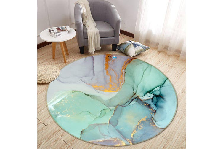 3D Green And Purple Marble 373 Round Non Slip Rug Mat, 120cm(47.2'')