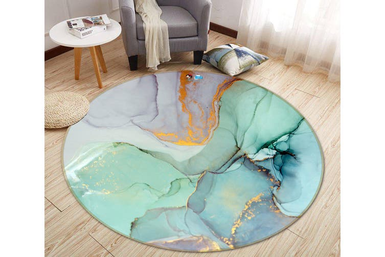 3D Green And Purple Marble 373 Round Non Slip Rug Mat, 160cm(63'')