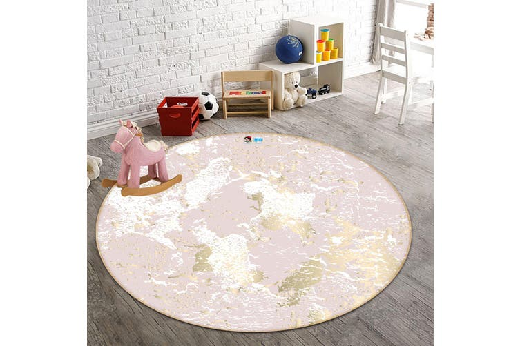 3D White And Pink Marble 735 Round Non Slip Rug Mat, 100cm(39.4'')