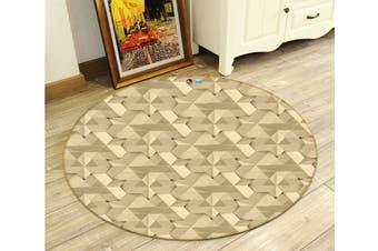 3D Yellow Pattern 3412 Round Non Slip Rug Mat, 60cm(23.6'')