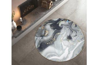 3D Grey Marble Texture 1382 Round Non Slip Rug Mat, 100cm(39.4'')