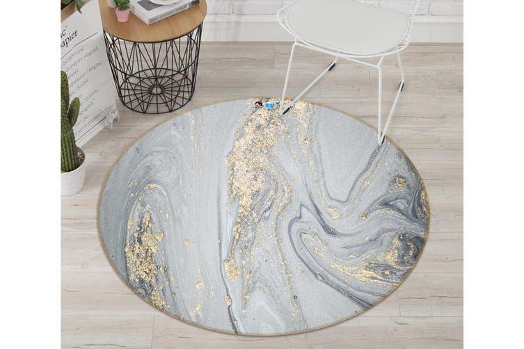 3D Grey Marble Texture 345 Round Non Slip Rug Mat, 60cm(23.6'')
