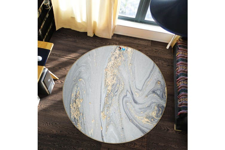 3D Grey Marble Texture 345 Round Non Slip Rug Mat, 100cm(39.4'')