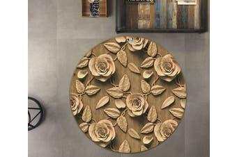 3D Yellow Flowers 879 Round Non Slip Rug Mat, 100cm(39.4'')