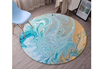 3D Wathet Water Ripple 67 Round Non Slip Rug Mat, 160cm(63'')