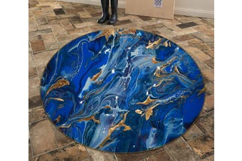 3D Navy Blue Pattern 735 Round Non Slip Rug Mat, 60cm(23.6'')
