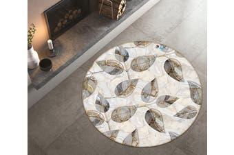 3D Grey Leaves 3582 Round Non Slip Rug Mat, 160cm(63'')