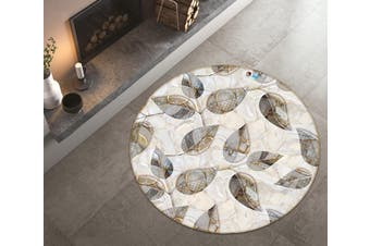 3D Grey Leaves 3582 Round Non Slip Rug Mat, 180cm(70.9'')
