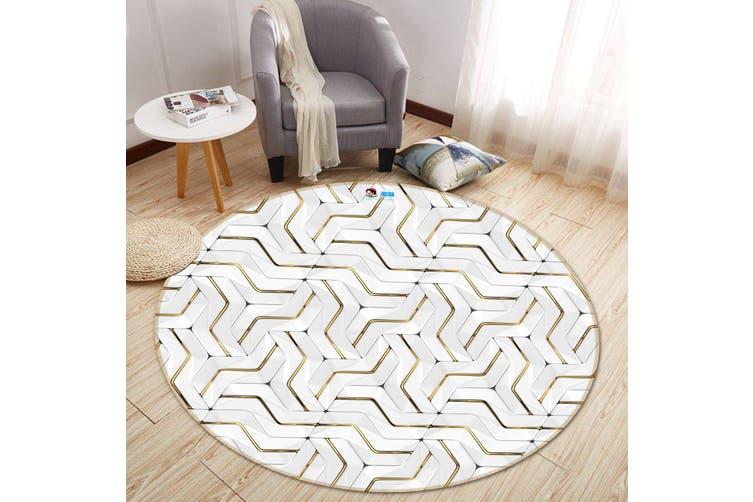 3D White Line Drawing 356 Round Non Slip Rug Mat, 60cm(23.6'')