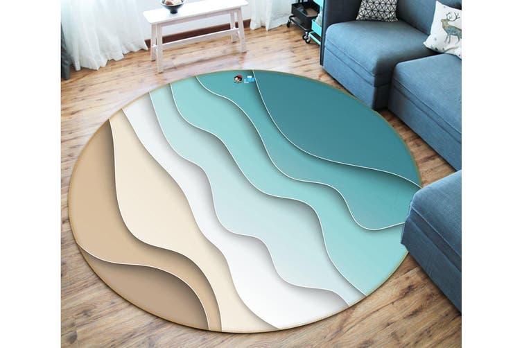 3D Green Waves 3712 Round Non Slip Rug Mat, 180cm(70.9'')