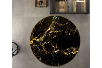 3D Black And Yellow Marble Texture 6 Round Non Slip Rug Mat, 200cm(78.7'')