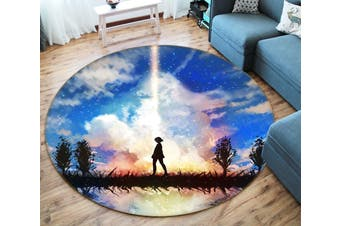 3D Your Name 342 Round Anime Non Slip Rug Mat, 200cm(78.7'')