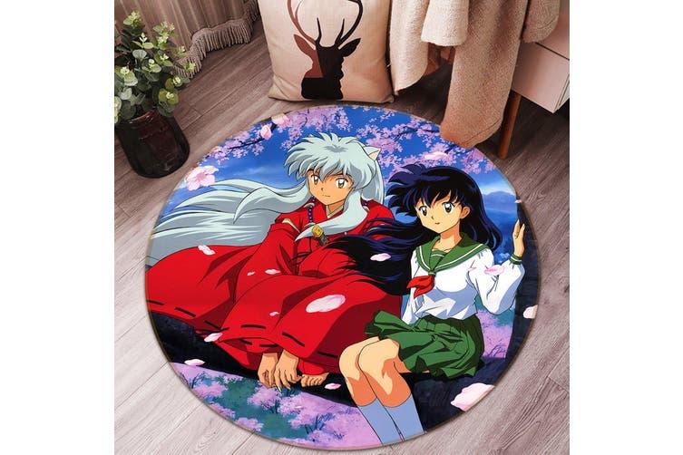 3D Inuyasha 6855 Round Anime Non Slip Rug Mat, 120cm(47.2'')