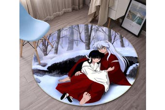3D Inuyasha 3482 Round Anime Non Slip Rug Mat, 60cm(23.6'')