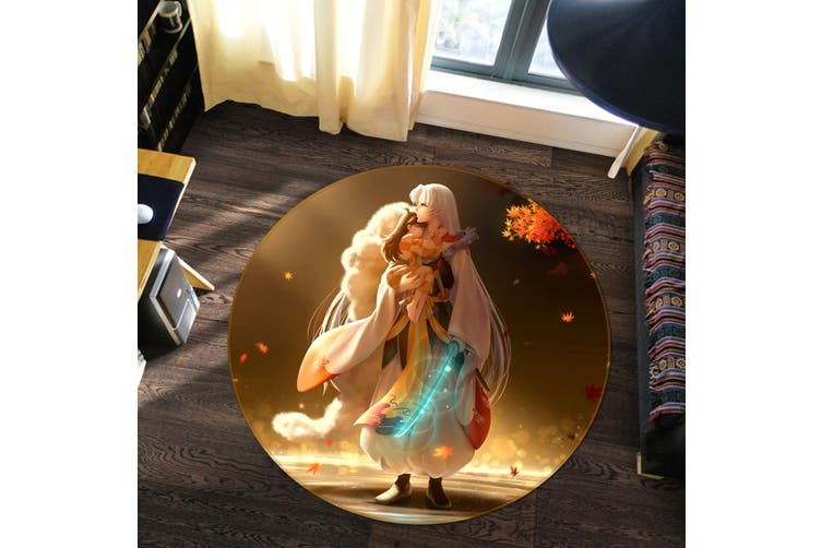 3D Inuyasha 2354 Round Anime Non Slip Rug Mat, 180cm(70.9'')