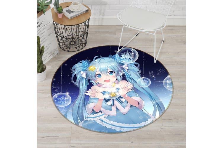 3D Hatsune Miku 5843 Round Anime Non Slip Rug Mat, 180cm(70.9'')