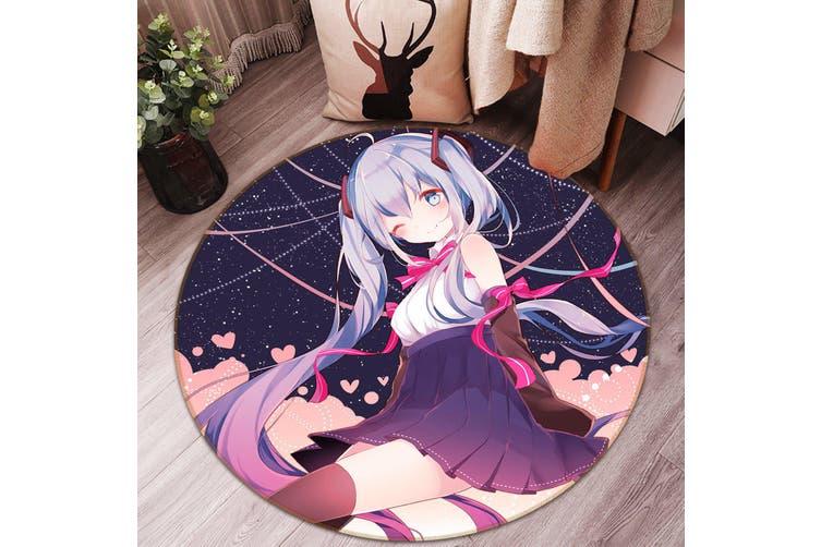 3D Hatsune Miku 8285 Round Anime Non Slip Rug Mat, 100cm(39.4'')
