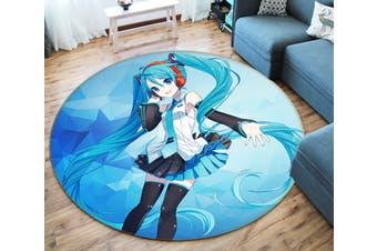 3D Hatsune Miku 5841 Round Anime Non Slip Rug Mat, 100cm(39.4'')