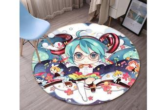 3D Hatsune Miku 3548 Round Anime Non Slip Rug Mat, 60cm(23.6'')