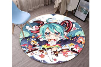 3D Hatsune Miku 3548 Round Anime Non Slip Rug Mat, 100cm(39.4'')