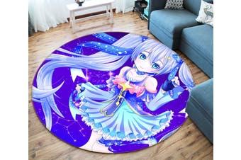 3D Hatsune Miku 253 Round Anime Non Slip Rug Mat, 60cm(23.6'')