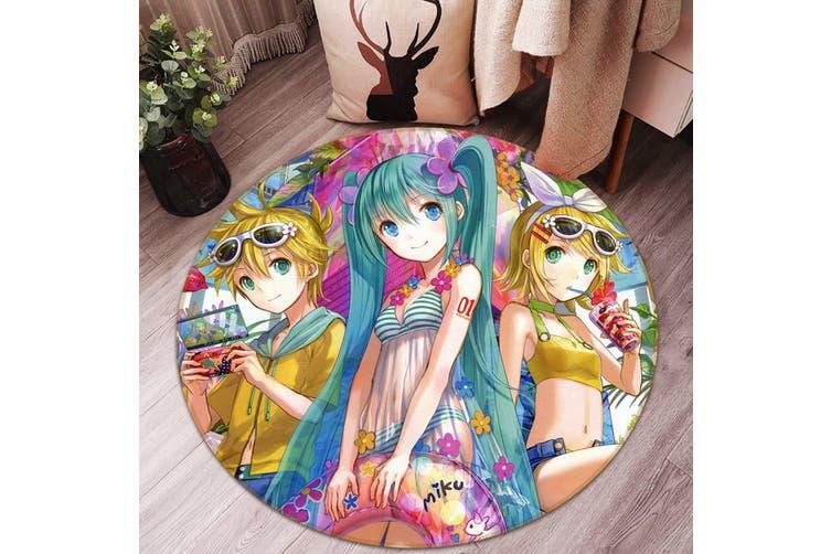 3D Hatsune Miku 2134 Round Anime Non Slip Rug Mat, 120cm(47.2'')
