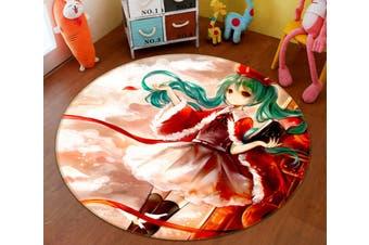 3D Hatsune Miku 1568 Round Anime Non Slip Rug Mat, 180cm(70.9'')