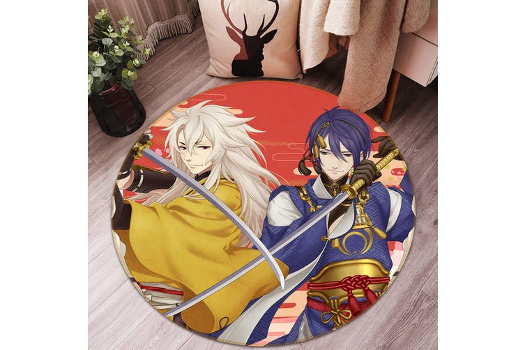 3D Flurry Of Sword 711 Round Anime Non Slip Rug Mat, 200cm(78.7'')