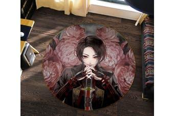3D Flurry Of Sword 522 Round Anime Non Slip Rug Mat, 60cm(23.6'')