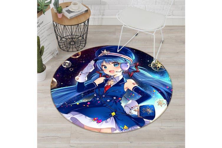 3D Beautiful Girl 5216 Round Anime Non Slip Rug Mat, 60cm(23.6'')