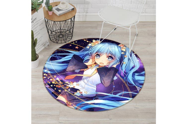3D Beautiful Girl 5241 Round Anime Non Slip Rug Mat, 180cm(70.9'')