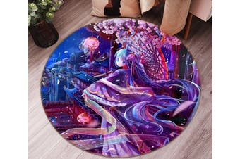 3D Beautiful Girl 2365 Round Anime Non Slip Rug Mat, 200cm(78.7'')