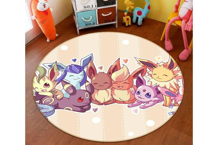 3D Pokemon 2968 Round Anime Non Slip Rug Mat, 60cm(23.6'')