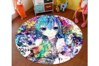 3D Hatsune Miku 3919 Round Anime Non Slip Rug Mat, 100cm(39.4'')