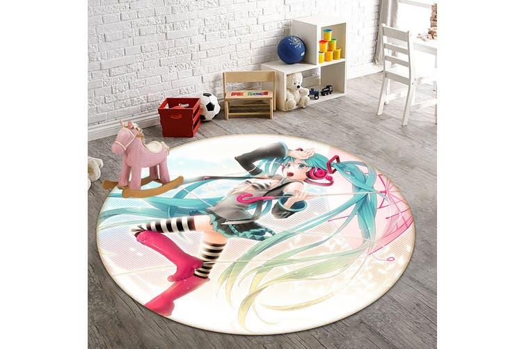 3D Hatsune Miku 2570 Round Anime Non Slip Rug Mat, 60cm(23.6'')