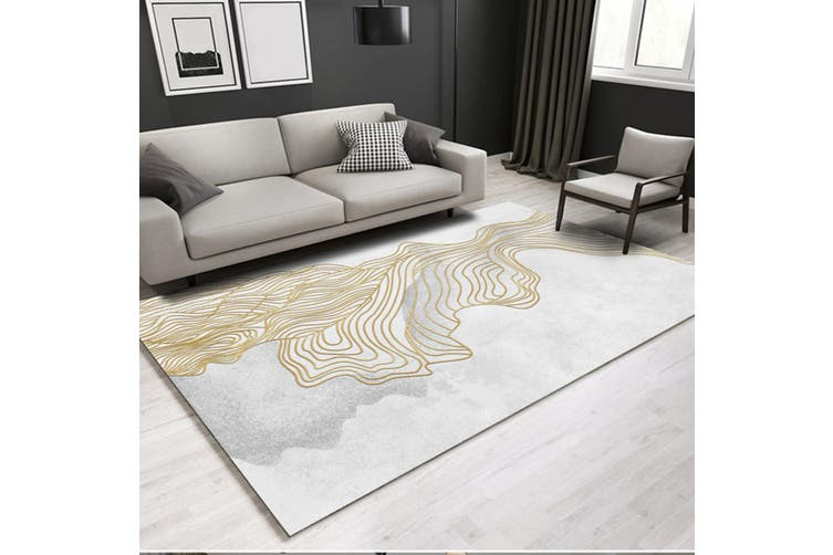 "3D Golden Lines WG244 Non Slip Rug Mat, 140cmx200cm (55.1""x78.8"")"