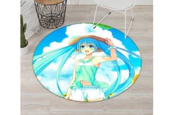 3D Hatsune Miku 3162 Round Anime Non Slip Rug Mat, 60cm(23.6'')