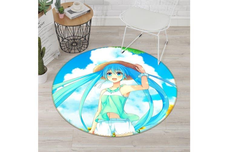 3D Hatsune Miku 3162 Round Anime Non Slip Rug Mat, 100cm(39.4'')