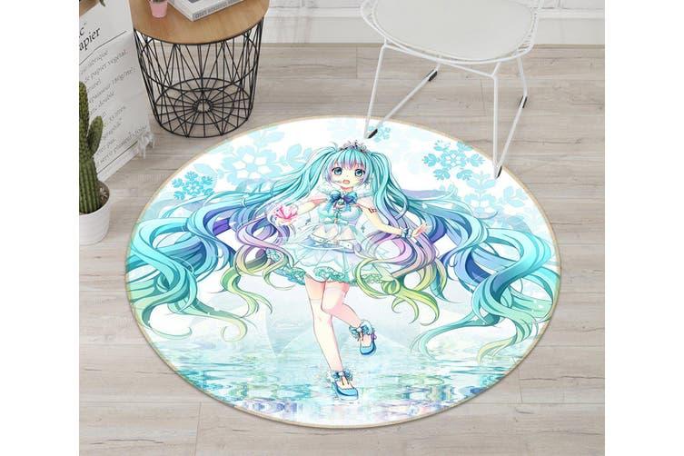 3D Hatsune Miku 7516 Round Anime Non Slip Rug Mat, 100cm(39.4'')