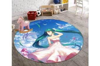3D Hatsune Miku 6457 Round Anime Non Slip Rug Mat, 100cm(39.4'')