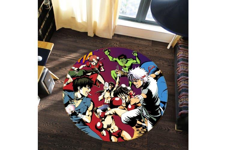 3D GinTama 5436 Round Anime Non Slip Rug Mat, 180cm(70.9'')