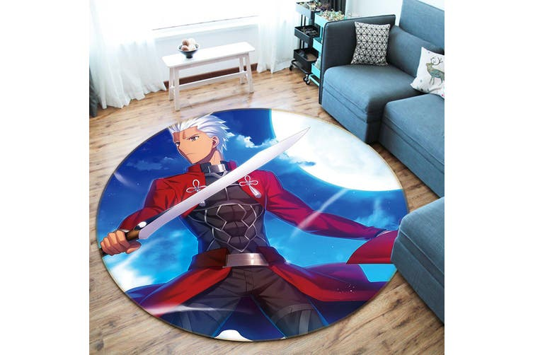 3D Fate stay night 871 Round Anime Non Slip Rug Mat, 100cm(39.4'')
