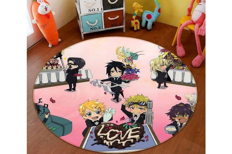 3D Black Butler 9630 Round Anime Non Slip Rug Mat, 180cm(70.9'')